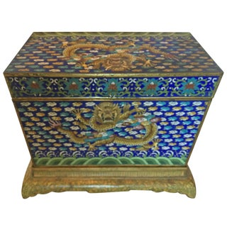 Chinese Cloisonné Dragon Box With Stand For Sale