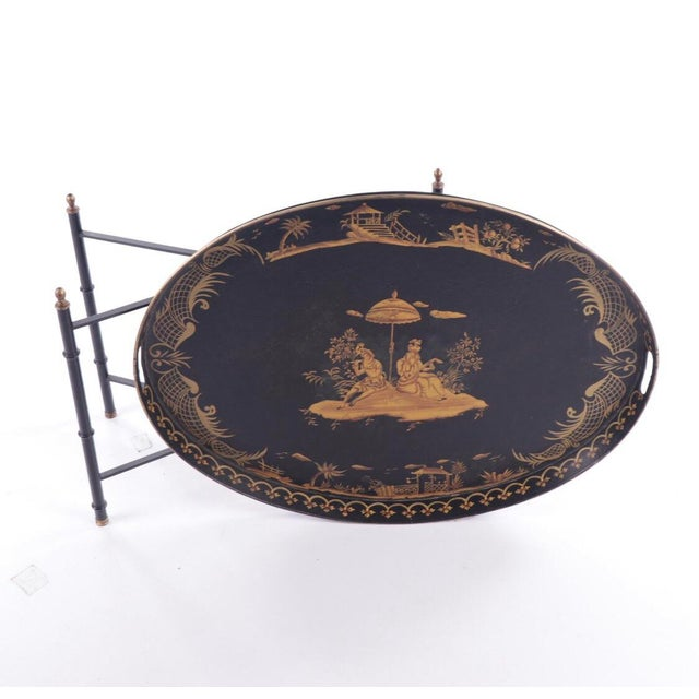 Chinoiserie Style Italian Painted Tray Table For Sale - Image 4 of 11