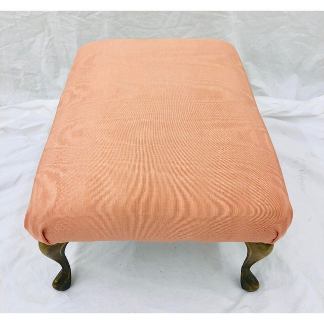 Awesome Vtg Queen Anne Style Silk Moire Brass Footstool Camellatalisay Diy Chair Ideas Camellatalisaycom