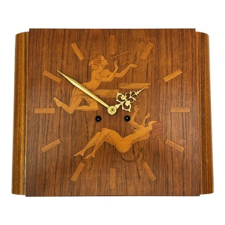 Wall Clock Attributed to Mjolby Intarsia From the Late 1930s