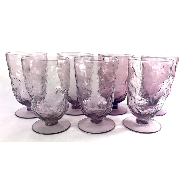 Mid 20th Century Vintage Mid-Century Seneca Driftwood Amethyst Crinkle Footed Glasses - Set of 7 For Sale - Image 5 of 5
