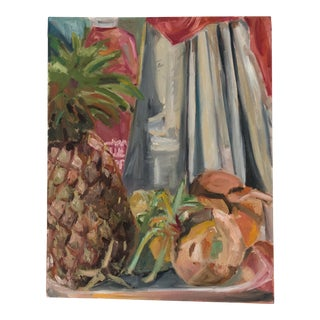 Original Still Life With Pineapple and Sprouted Onions. For Sale