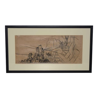 """Jean Carlu (French, 1900-1997) """"Breaking the Chains"""" Original Charcoal on Paper C.1920s For Sale"""