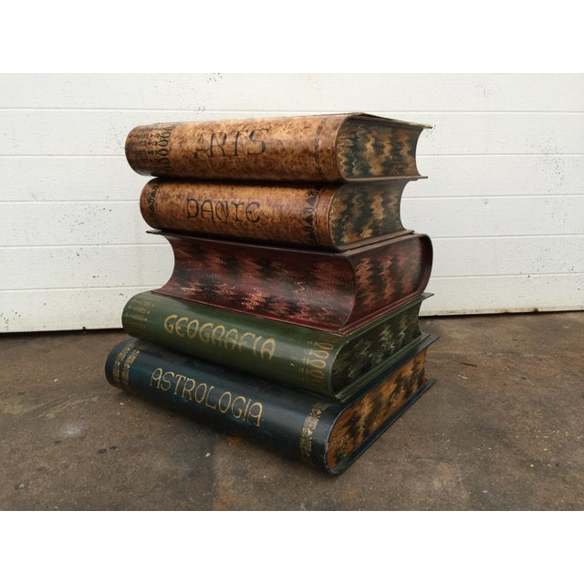 This listing is for a vintage Italian tole painted book stack table with storage, flip top. Condition-good vintage...