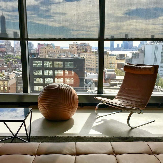 Not Yet Made - Made To Order Banded Ottoman in Saddle Brown Leather by Moses Nadel For Sale - Image 5 of 8