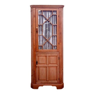 19th Century English Pine Corner Cupboard For Sale