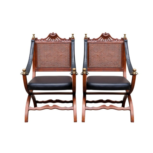 Italian Caned Leather Campaign Chairs - a Pair For Sale - Image 10 of 10