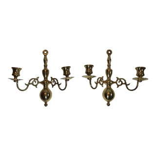 Mid 20th Century Traditional Brass Candle Sconces - a Pair