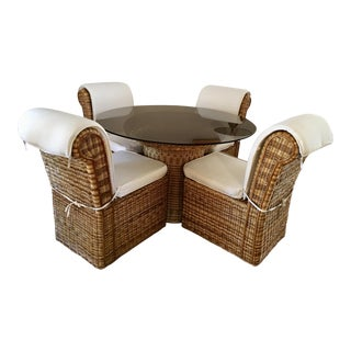 **Final Sale Price** Vintage Woven Rattan Round Dining Set - Set of 5