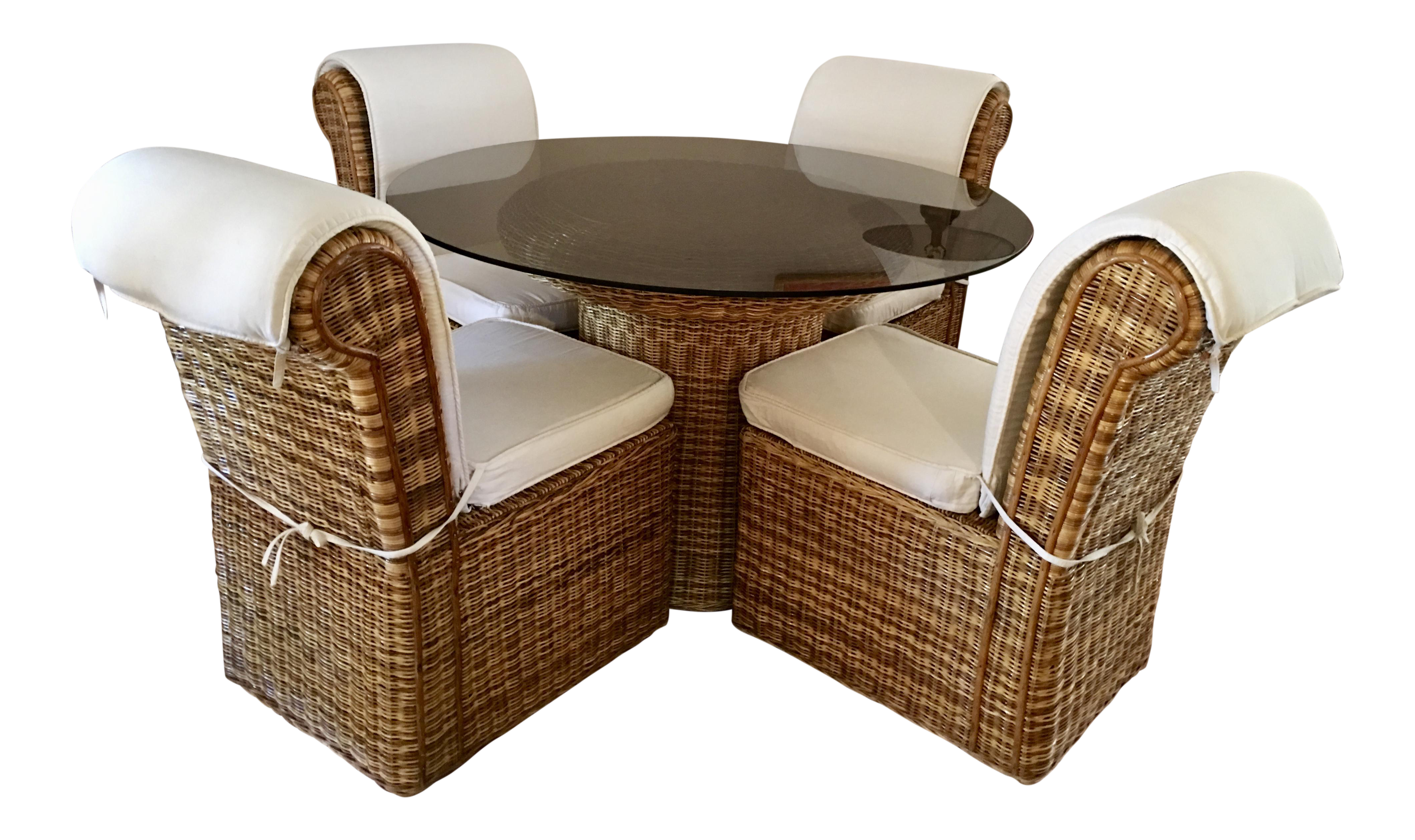 **Final Sale Price** Vintage Woven Rattan Round Dining Set   Set Of