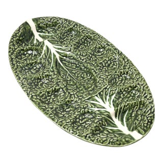 Vintage Majolica Green Cabbage Deviled Eggs Platter by Olfaire Made in Portugal For Sale