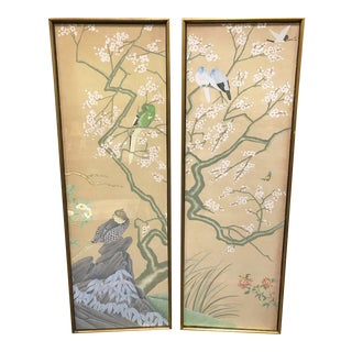Hand Painted Chinoiserie Wall Panels Diptych - a Pair For Sale