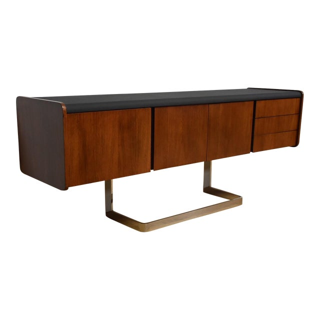 Ste-Marie Rosewood & Chrome Credenza For Sale