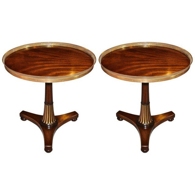 Brass Midcentury Regency Style Mahogany Side Tables with Brass Gallery - A Pair For Sale - Image 7 of 7