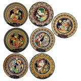 Image of 7 Hand Painted and Signed Bjorn Wiinblad Rosenthal Plates For Sale