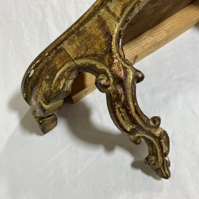 Gold Petite Italian Florentine Floating Wall Shelf For Sale - Image 8 of 13