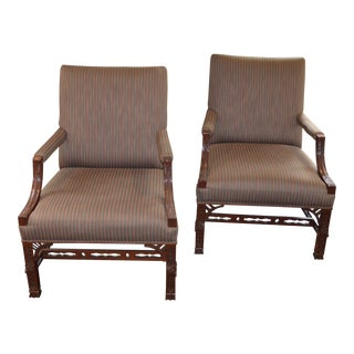 Henredon Chippendale Style Library Chairs - A Pair