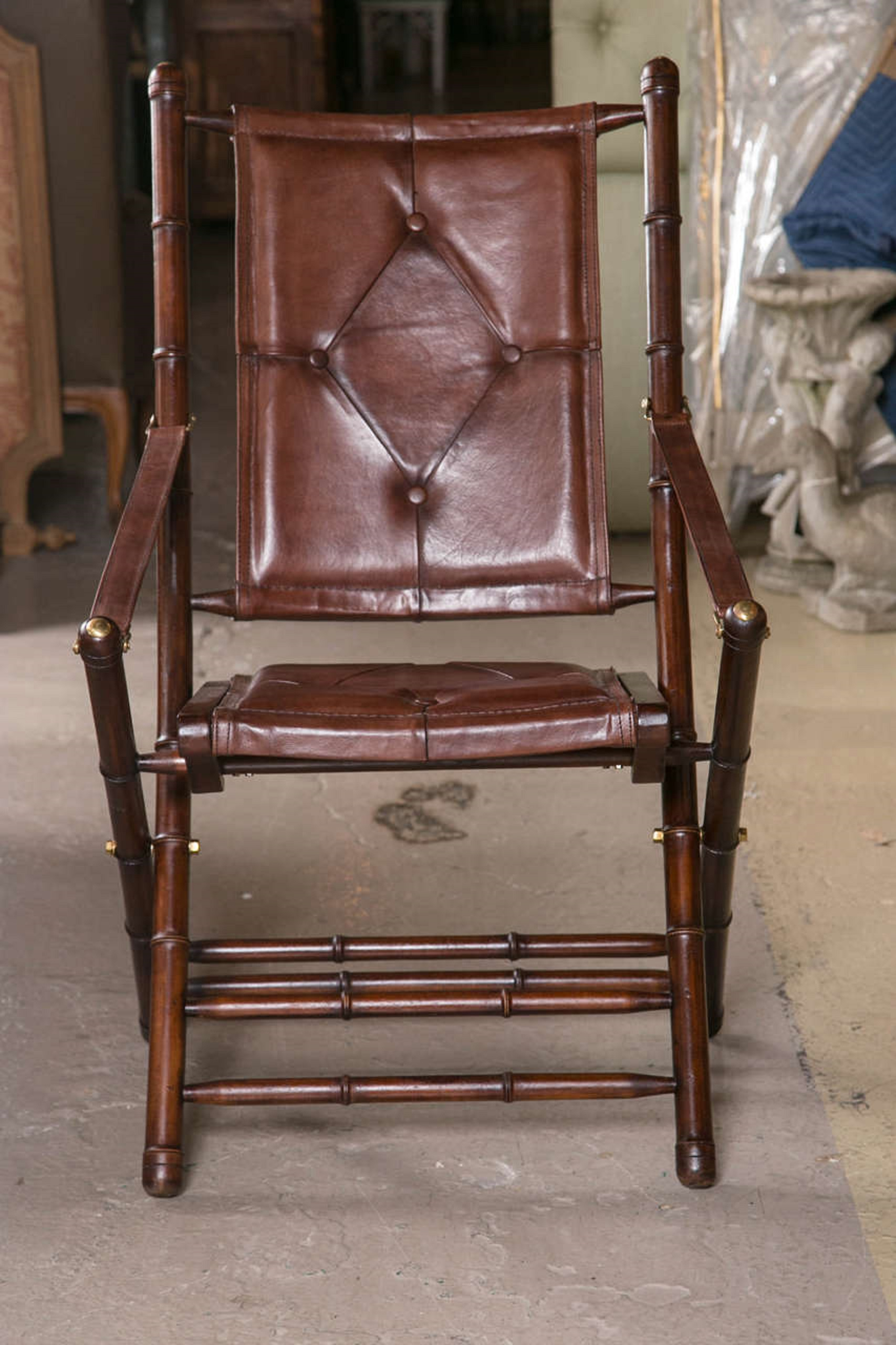 2000s Leather Bamboo Style Folding Chair For Sale   Image 5 Of 10