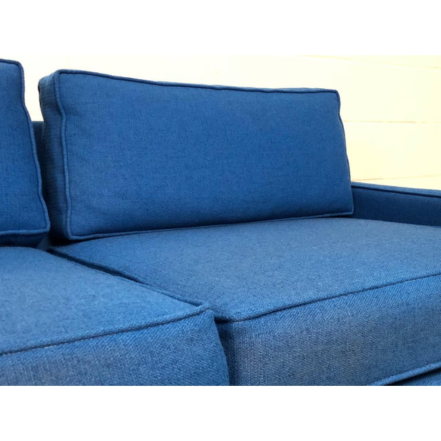 """Blue Royal Blue Mid-Century Modern Sofa ~ 103"""" Long For Sale - Image 8 of 11"""