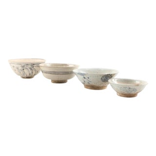 Hand Painted East Asian Antique Bowls - Set of 4 For Sale