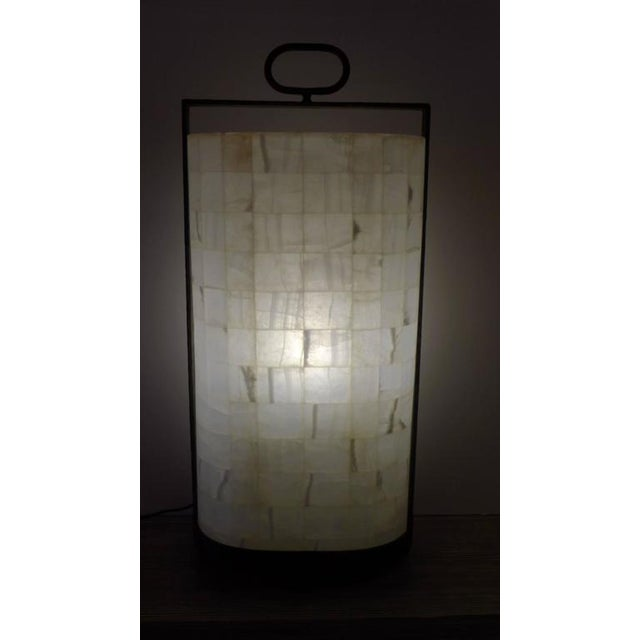 Quartz and Iron Lantern Style Tall Table Lamp For Sale - Image 4 of 9