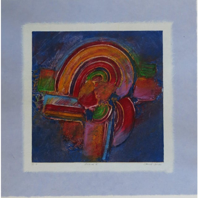 1980s Aerial V Abstract Monotype With Chine Colle and Embossing by Janet Jones For Sale - Image 5 of 5
