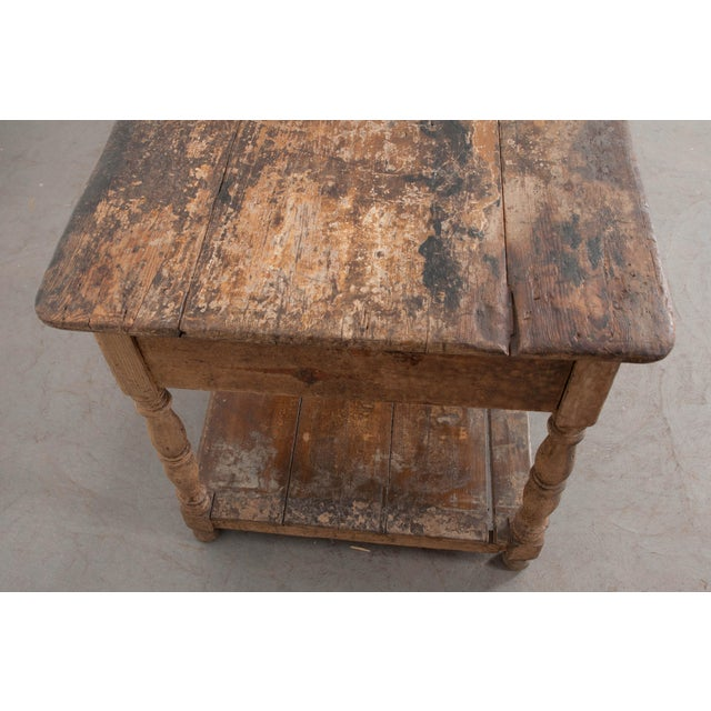 A large, deep drapery table, made in France circa 1890. The table is outfitted with two large drawers that will provide...