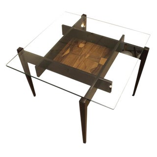 Square Coffee or Side Table with Center Etching For Sale