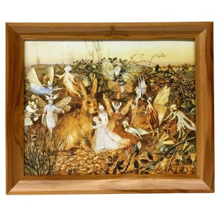 Victorian Framed Canvas Rabbit Art Print by Fitzgerald For Sale