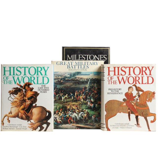 Fifteen vintage oversized world history themed selections volumes in varied shades of black and white. Various authors and...