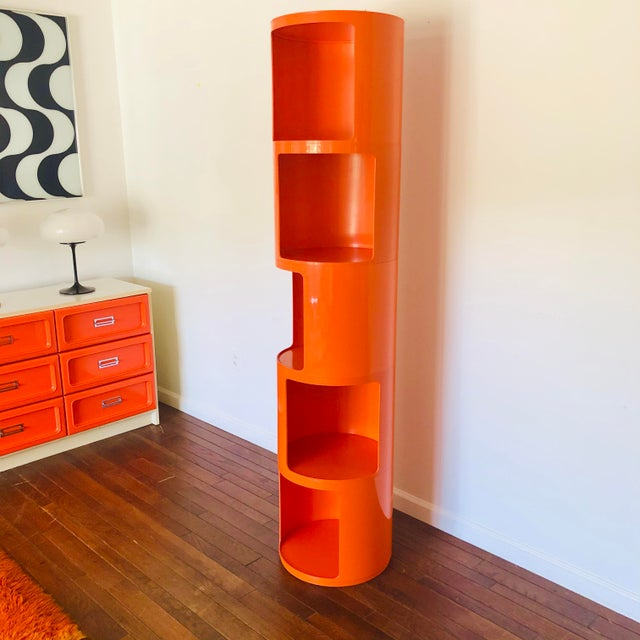 Kartell 1960s Kartell Space Age Orange Plastic Modular Shelving Unit For Sale - Image 4 of 5