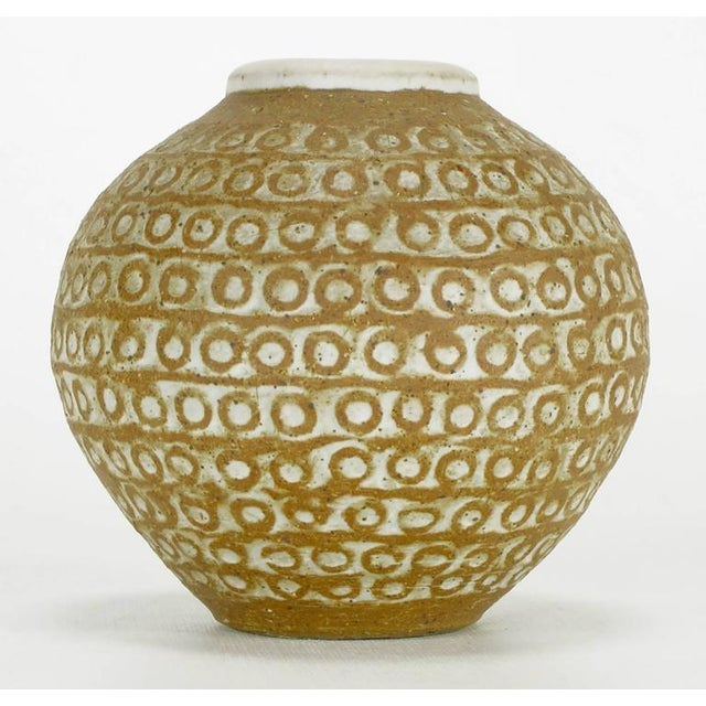 Relief Patterned Earthen Pottery Vase by Tomiya Matsuda - Image 2 of 8