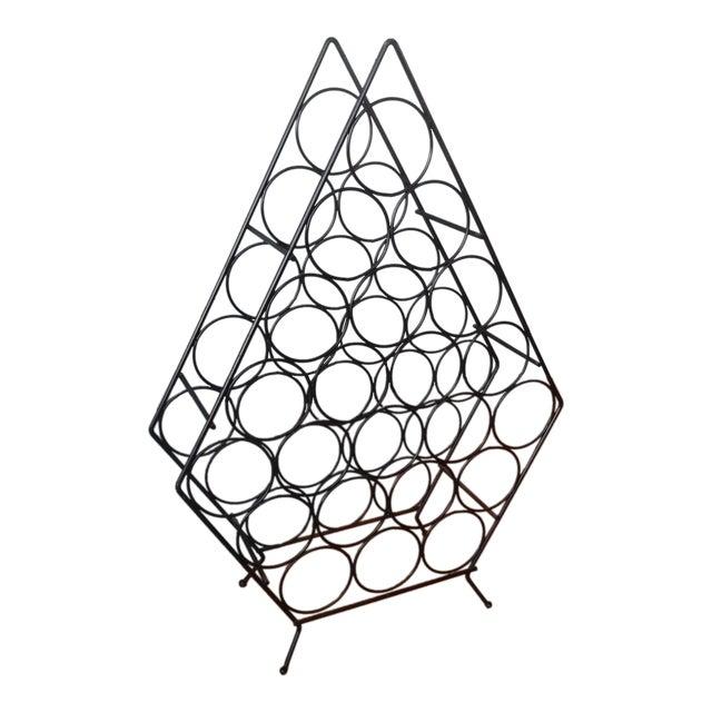 Vintage Mid-Century Metal Wire Diamond Wine Rack - Image 1 of 4