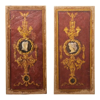Pompeii Style Italian Red and Gold Frescoes - a Pair