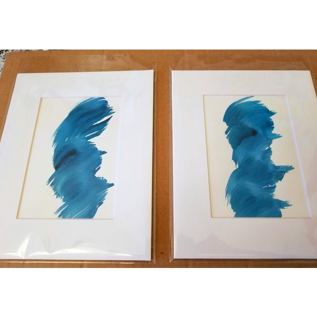 """Blue Fever"" Modern Abstract Watercolor Matted Paintings - a Pair - Image 2 of 4"