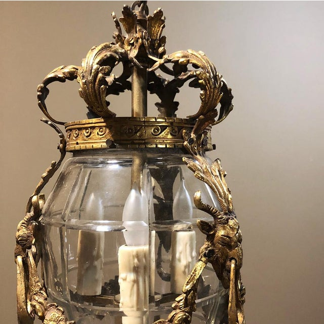 Early 20th Century Antique Bronze & Crystal Lantern Chandelier For Sale - Image 5 of 12