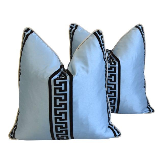 "Blue Dupioni Satin Silk Greek Key Feather/Down Pillows 23"" Square - Pair For Sale"