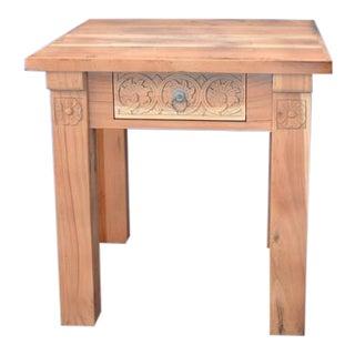 Indian Wooden Carved Side Table - Sandblasted For Sale