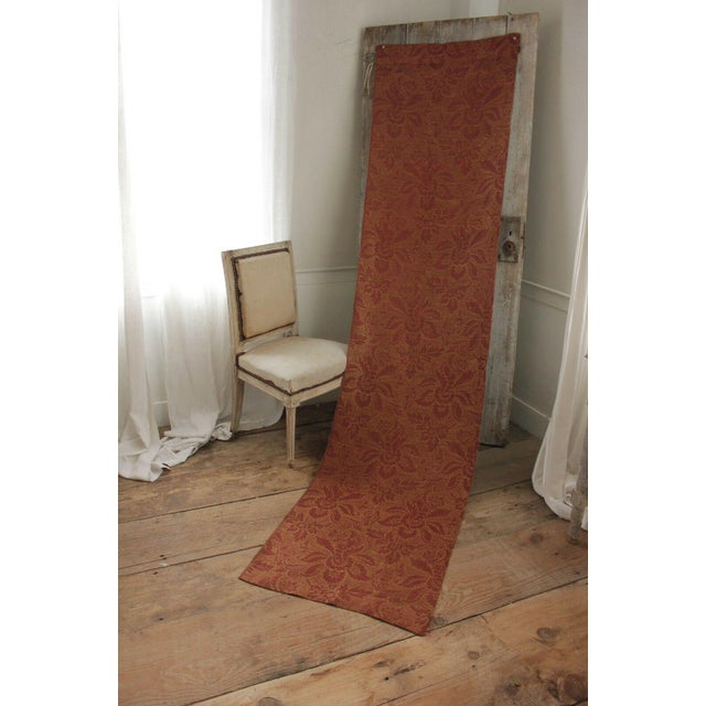 Antique French Fabric 19th Century Jacquard Weave Furnishing Rust Tone For Sale - Image 9 of 12