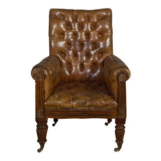 Tufted Leather Club Chair For Sale