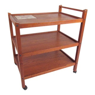 Scandinavian Modern Teak Serving Cart by Brdr Furbo For Sale