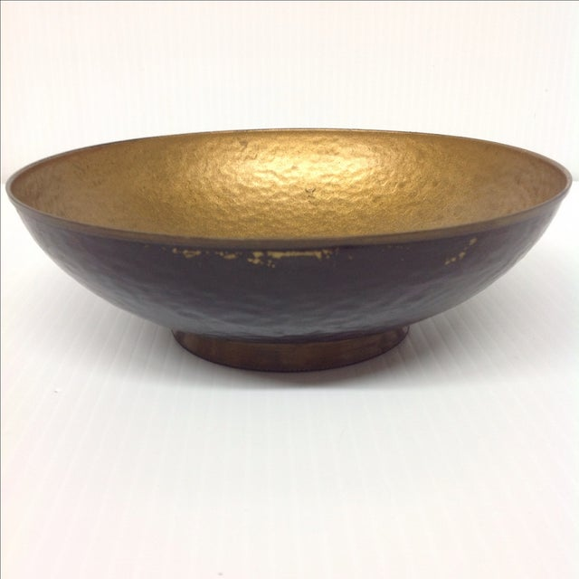 Boho Chic Oppenheim Israel Enameled Brass Bowl For Sale - Image 3 of 4