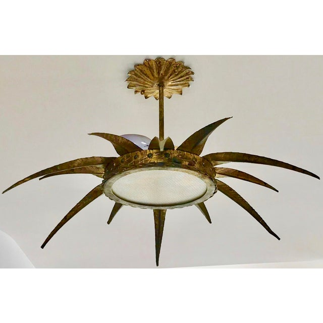 Metal 1950s French Sunburst Ceiling Mount Fixture For Sale - Image 7 of 9