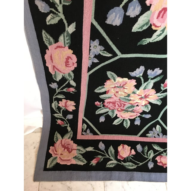 "Vintage Floral Needlepoint Rug - 8'8"" X 6'7"" For Sale In Detroit - Image 6 of 7"