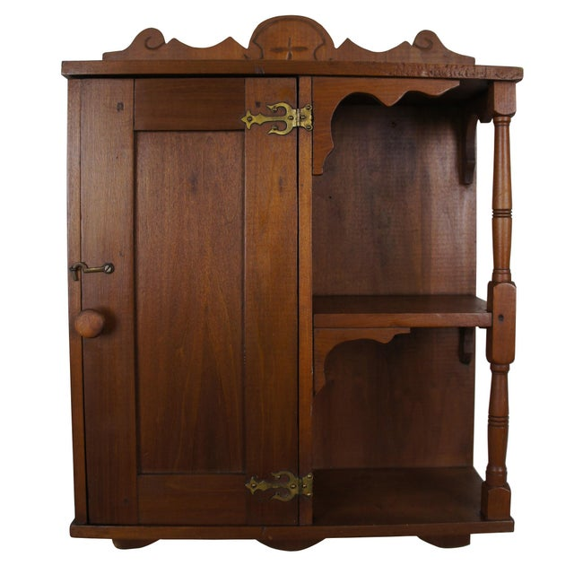 20th Century Early American Style Antique Pine Wall Hanging Medicine Cabinet For Sale - Image 13 of 13