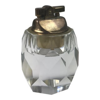 1960s Mid-Century Modern Crystal and Brass Table Lighter For Sale