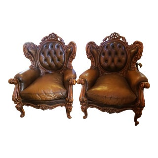 Antique Victorian Carved Ornate Tufted Distressed Brown Leather Chairs - Pair For Sale