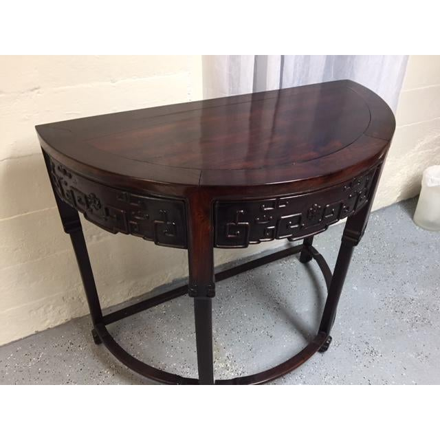 English Traditional 1800's Demi Lune Rosewood Console For Sale - Image 3 of 6
