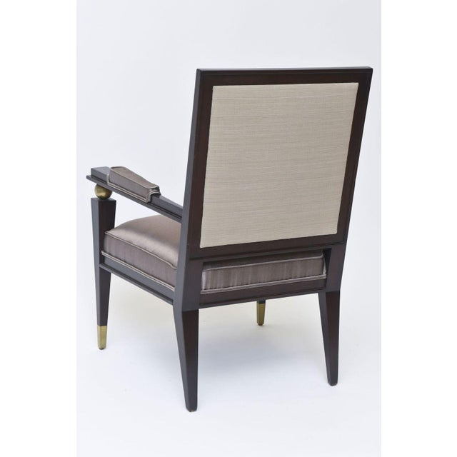 Jacques Quinet French Modern Dark Rosewood, Brass and Parcel-Gilt Armchair For Sale In Miami - Image 6 of 11