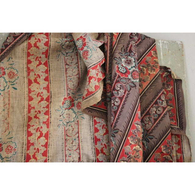 Antique French Fabric Rare Purple Red & Blue Madder Tones 1830 Roller Printed For Sale - Image 4 of 13